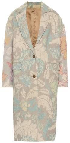 Floral-printed jute-blend coat