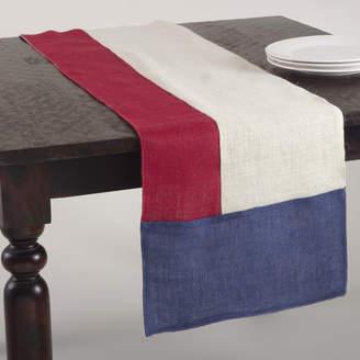Saro American Design Block Design Jute Table Runner