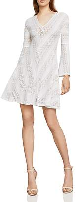 BCBGMAXAZRIA Bell Sleeve Lace A-Line Dress