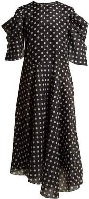 ANNA OCTOBER Puff-sleeve polka dot-print chiffon dress