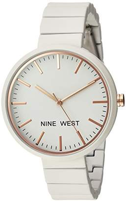 Nine West Women's NW/2012IVRG Matte Ivory Rubberized Bracelet Watch