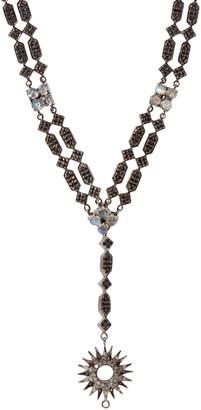 Bavna Sterling Silver Black Spinel & Diamond Draped Necklace