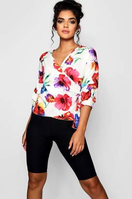 boohoo Floral Pin Tuck Sleeve Detail Wrap Blouse