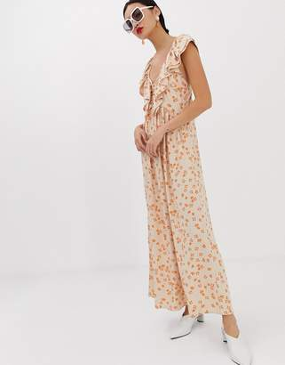 Lost Ink maxi dress with ruffle collar and volume skirt