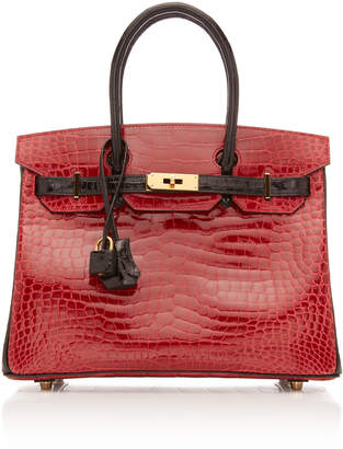 Hermes Vintage by Heritage Auctions 30cm Shiny Briase and Black Porosus Crocodile Special Order Horseshoe Birkin