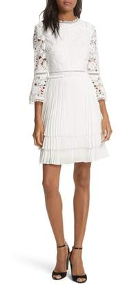 Ted Baker Stefoni Lace Bodice Pleated Dress