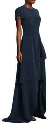 David Meister Floor-Length Tiered Asymmetrical Hem Gown
