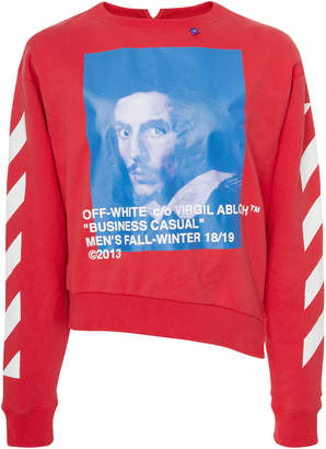 Off-White Printed Cotton-Jersey Sweatshirt