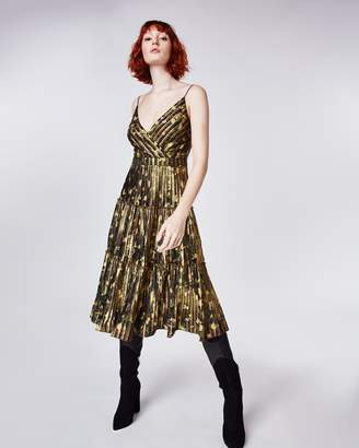 Nicole Miller Foiled Flower Camo Pleated Dress