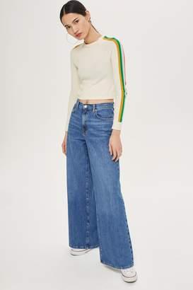 Topshop Womens Light Blue Wide Leg Jeans - Mid Stone