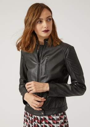 Emporio Armani Biker Jacket In Nappa Leather With Padding
