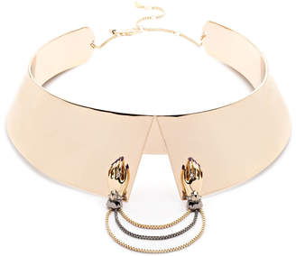 Alexis Bittar Shirt Collar With Removable Hands Brooch Necklace