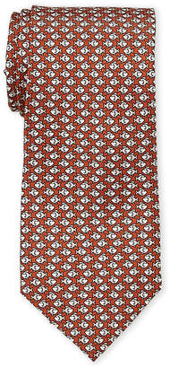 Battistoni Orange Swimming Fish Silk Tie