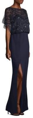 Aidan Mattox Split-Sleeve Gown