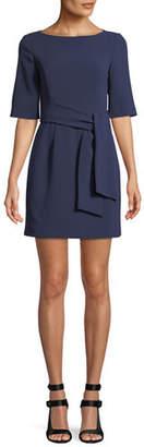 Alice + Olivia Virgil Tie-Front Boat-Neck Mini Dress