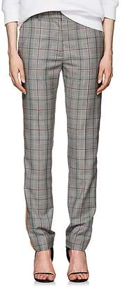 Calvin Klein Women's Glen Plaid Wool Slim Trousers - Black White Grenadine