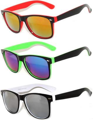 OWL 3 Pack Classic Retro Vintage Two -Tone Colorful Mirror Lens Sunglasses .