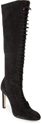 Jimmy Choo Black Desiree Lace-Up Knee-High Boots