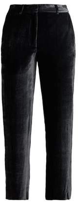 Sies Marjan Willa Cropped Silk Blend Velvet Trousers - Womens - Dark Grey