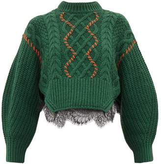 Self-Portrait Self Portrait Chunky Lace Trim Cotton Blend Sweater - Womens - Dark Green