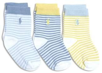 Ralph Lauren Boys' St. James No-Slip Striped Socks, 3 Pack - Baby
