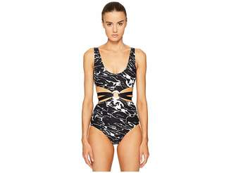 Proenza Schouler Marble Print One-Piece w/ Trim Center Ring Women's Swimsuits One Piece