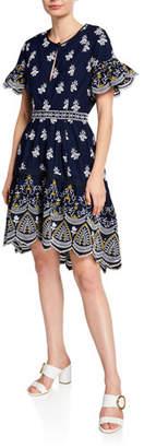 Shoshanna Richa Keyhole Ruffle-Sleeve Dress