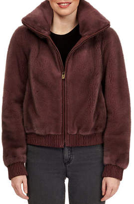 Pajaro Leather-Trim Mink Fur Bomber Jacket