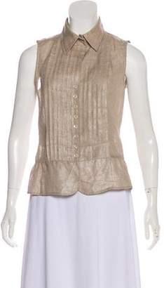 Armani Collezioni Sleeveless Button-Up Top