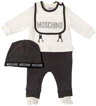 Moschino Suspenders Cotton Romper W/ Bib & Hat