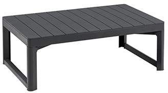 Keter Allibert by Slatted Effect Lyon 2-in-1 Outdoor Garden Dining/Coffee Table - Graphite