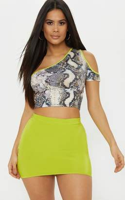PrettyLittleThing Mono Zebra Printed Neon Binding Cut Out Crop Top