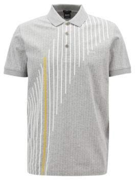 BOSS Hugo Regular-fit pinstripe polo shirt in mercerized cotton L Light Grey