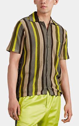 Cmmn Swdn Men's Vertical-Striped Open-Knit Cotton Short-Sleeve Shirt
