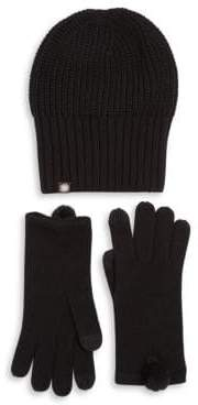 UGG Two-Piece Rib-Knit Hat and Faux Fur Pom Gloves Set