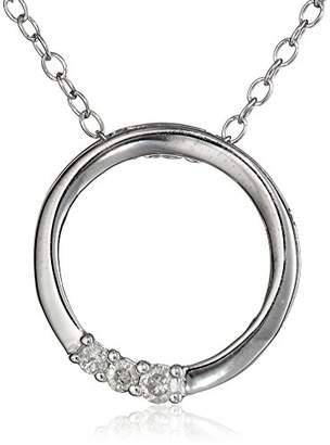 Sterling and Diamond Circle Pendant Necklace (1/10 cttw)