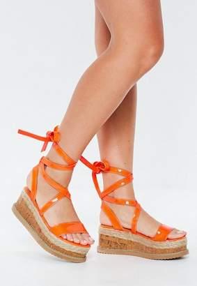 Missguided Neon Orange Lace Up Flatform Espadrilles