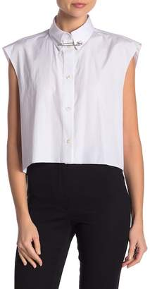 Helmut Lang Safety Pin Collared Cap Sleeve Button Down Shirt