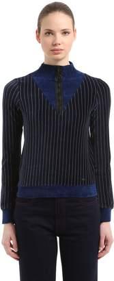 Sonia Rykiel Pinstriped Velvet Half Zip Sweatshirt