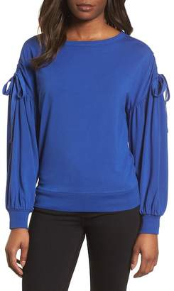 Halogen Ruched Bow Sleeve Top