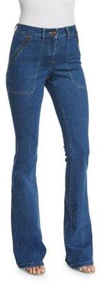 Veronica Beard Patch-Pocket Denim Skinny-Flare Jeans, '70s Wash $295 thestylecure.com
