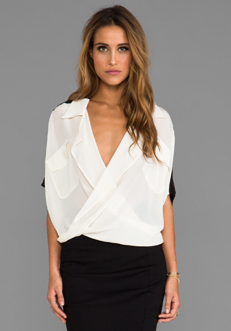 Funktional Lens 2-Tone Fold Front Blouse