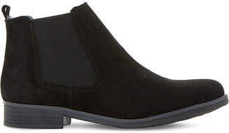 Dune Ladies Black Embellished Comfortable Prompts Faux Fur-Lined Ankle Boots