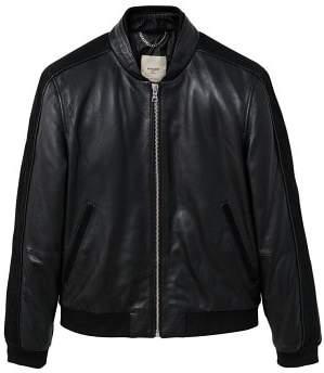 Mango man MANGO MAN Pocketed leather bomber jacket