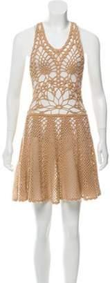Jen Kao Crocheted Cashmere Dress w/ Tags Tan Crocheted Cashmere Dress w/ Tags