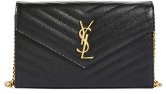 Saint Laurent 'Large Monogram' Quilted Leather Wallet on a Chain $1,550 thestylecure.com