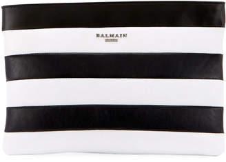 Balmain Striped Pochette Wallet Bag