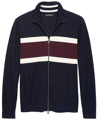 Banana Republic SUPIMA® Cotton Chest-Stripe Textured Full-Zip Sweater Jacket