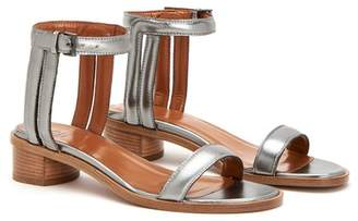 Aquatalia Randa Metallic Leather Ankle Strap Sandal