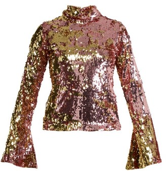 Halpern - Sequin Embellished High Neck Top - Womens - Pink Gold